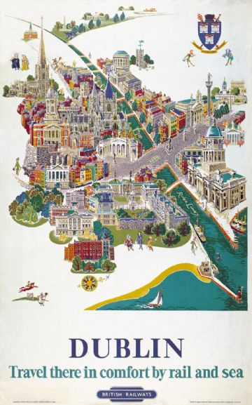 Irish Travel Art Poster, Dublin, Map, River Liffey, Ireland